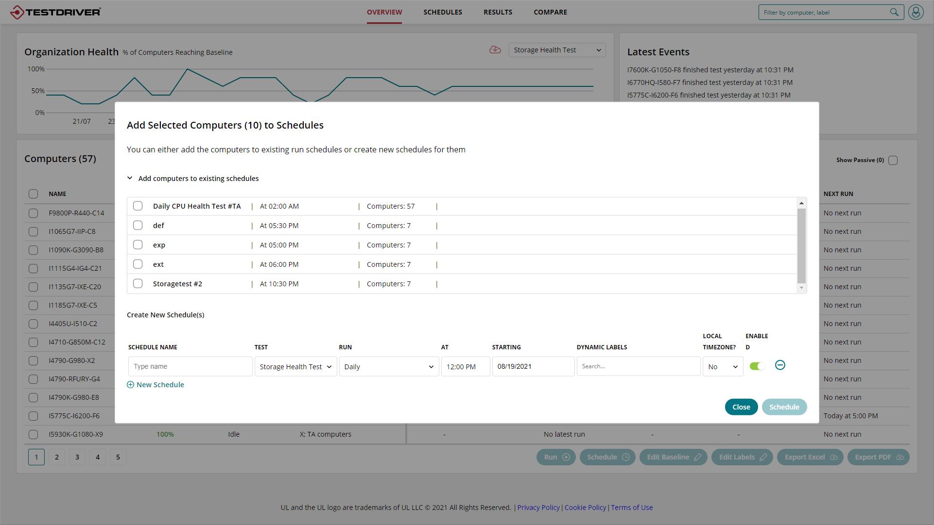 Testdriver Cloud Edition Storage Health Test scheduling
