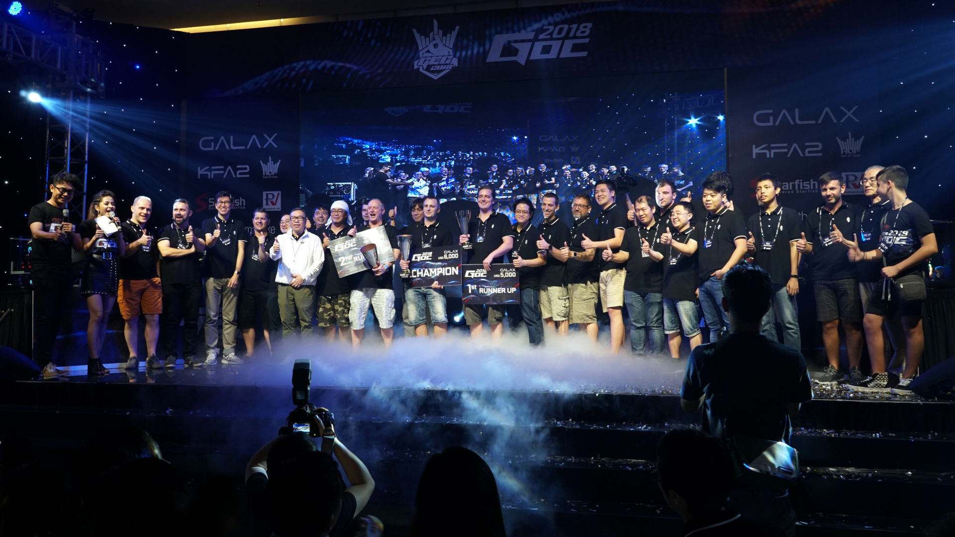 GALAX GOC 2018 winners on stage