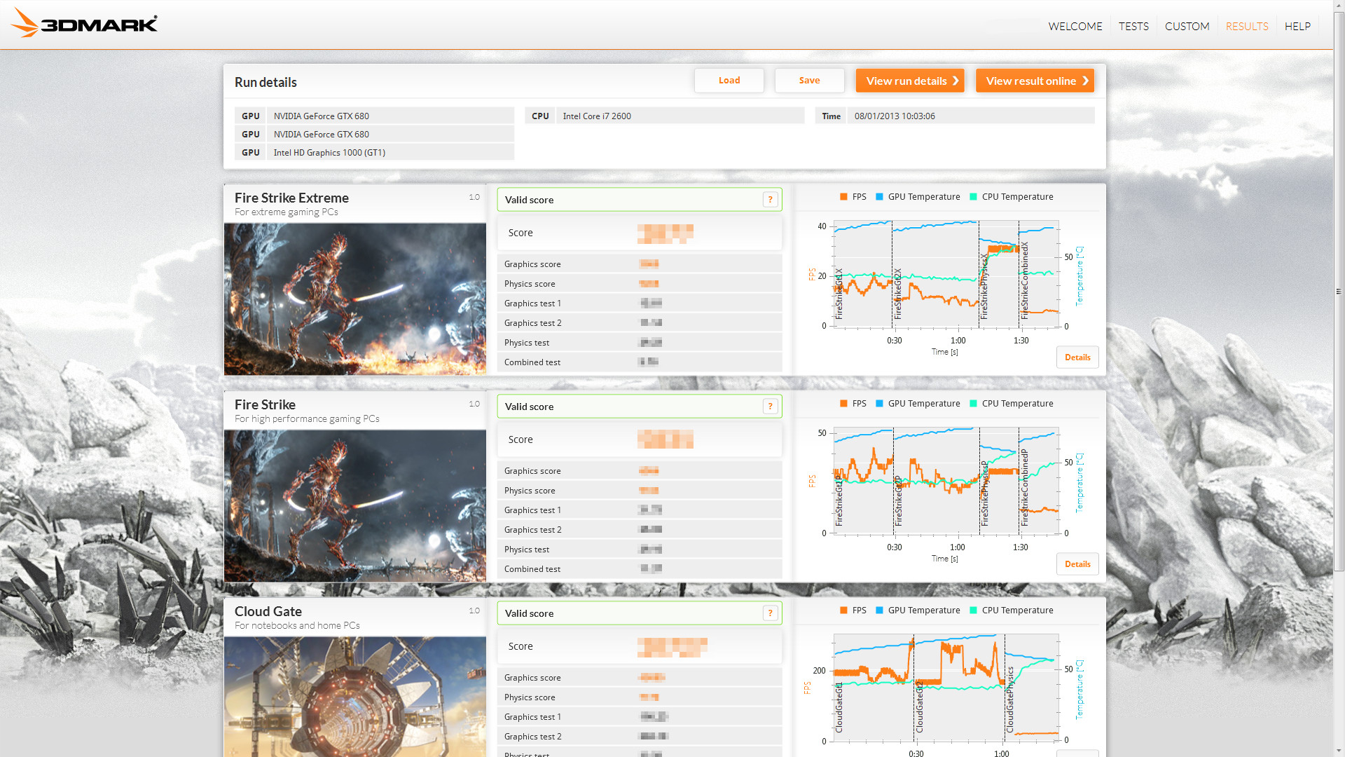 3DMark results screen