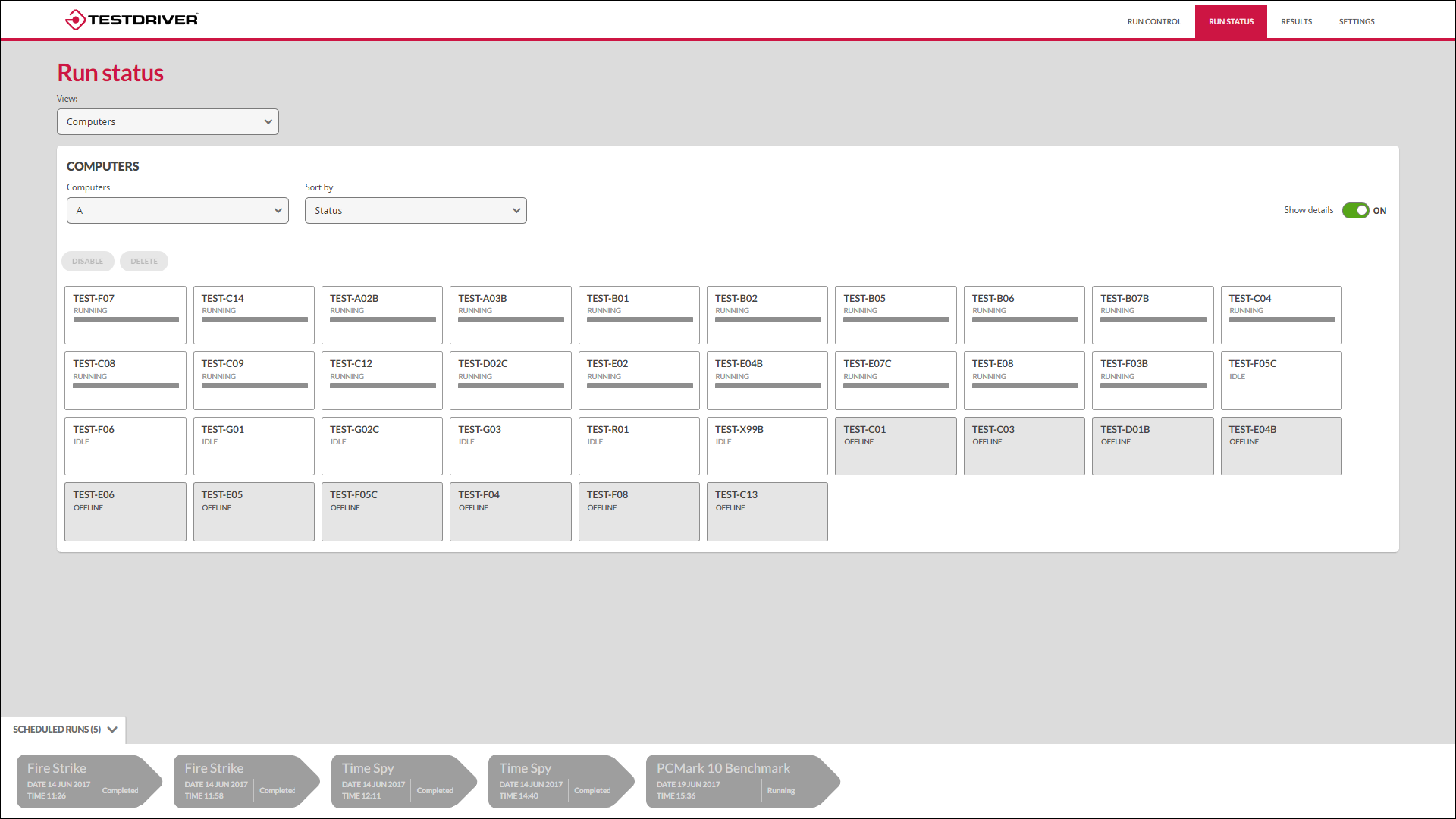 Testdriver scheduling screenshot