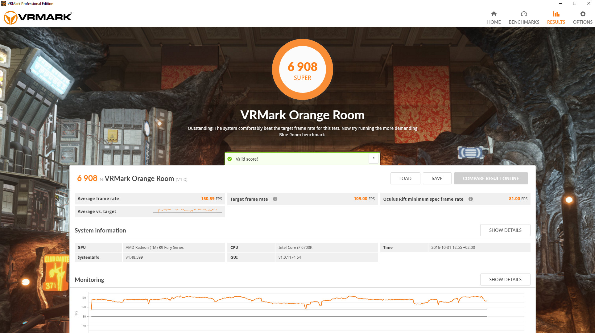 VRMark Orange Room Benchmark Result Screen